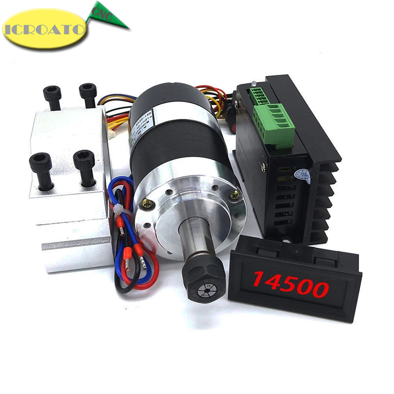ICROATO WS55-140 Brushless 300W Spindle High Speed 0.3KW Air-cool Spindle Motor DC 36V 12000 RPM MACH3 with ER11 Collet + Clamp