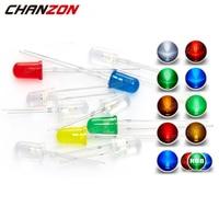 Luz LED de 5mm para destellear, lámpara de diodo emisor, Bombilla RGB blanca, roja, azul, verde, amarilla, 3V, intermitente, indicador Arduino, 100 Uds.