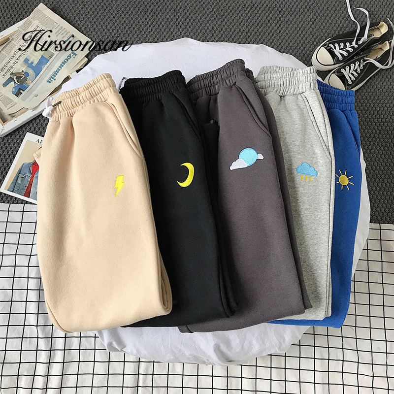 Hirsionsan Weather Graphic Embiodery Pants Women 2020 Drawstring Casual Loose Man Ankle-length Pant 5 Colors Boy Friend Trousers
