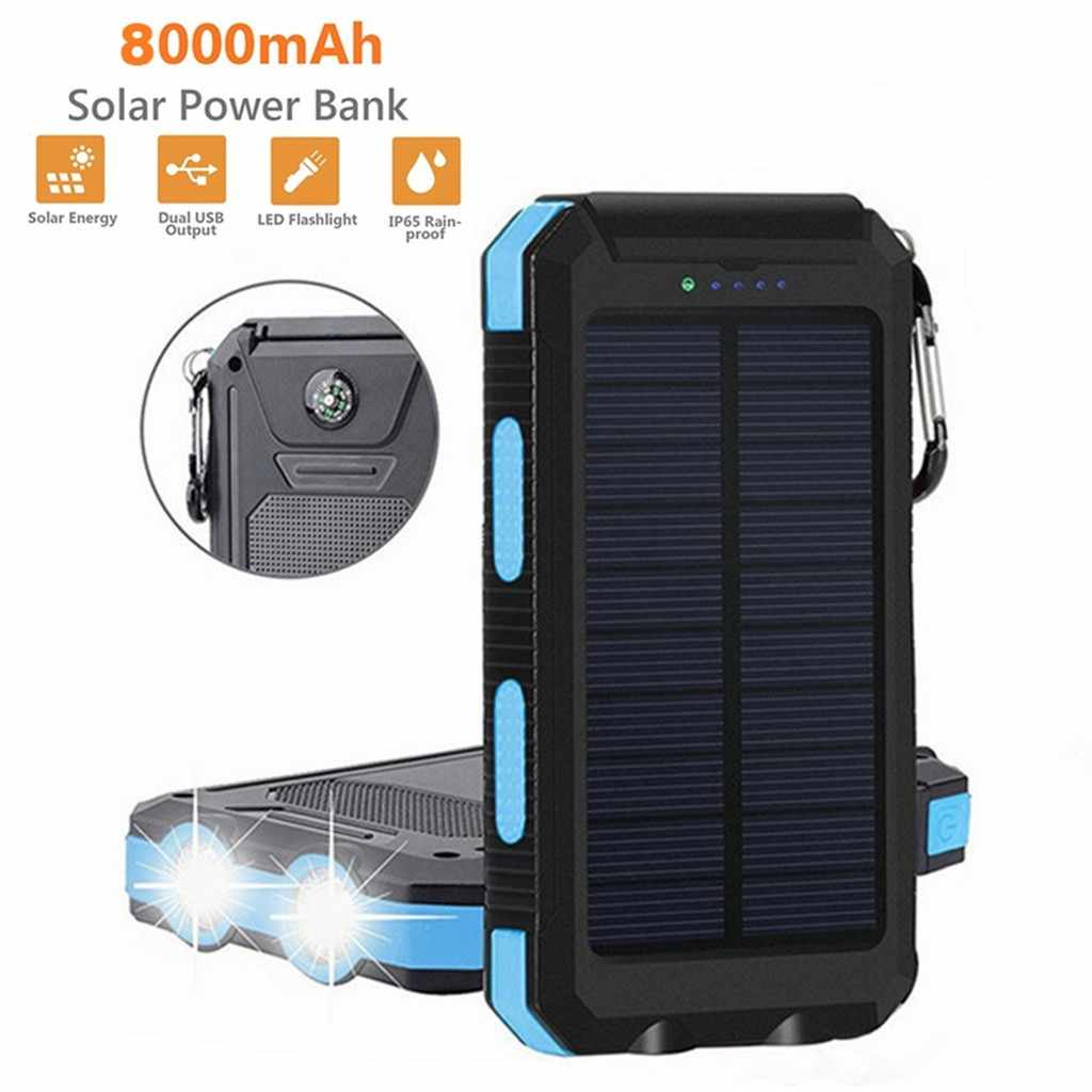 12v battery ups 12vWaterproof Dual USB Portable 8000mAh Solar Charger Solar Power Bank For Phone аккумулятор  rechargeable batte