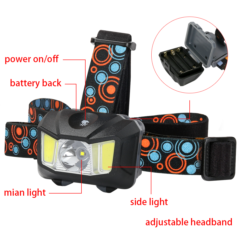 Panyz COB Mini Headlamp LED Camping Hiking Mini Head Torch Light 4 Modes Headlight Fishing AAA Batteries Outdoor Lights