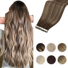 Moresoo bant saç ekleme Balayage Ombre makinesi Remy gerçek insan saçı kadınlar için görünmez dikişsiz PU cilt atkı düz
