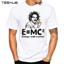 TEEHUB Hot Sales mannen Grappige E MC2 koffie melk Ontwerp T-Shirt Cool Tops Hipster Tee(China)