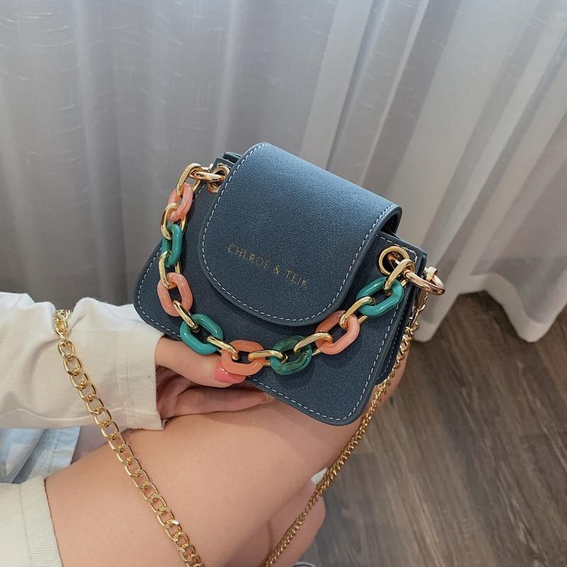 Fashion Colorful Acrylic Women Handbags Designer Chains Shoulder Bags Luxuty Matte Pu Leather Crossbody Bag Small Saddle Purses