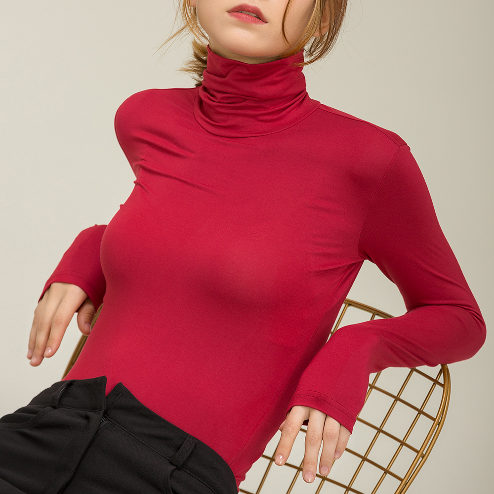 Fall Slim Fit Autumn Casual Modal Basis Long Sleeve Tshirt Women Turtleneck Elegant Solid Color Top for Plus size Oversize
