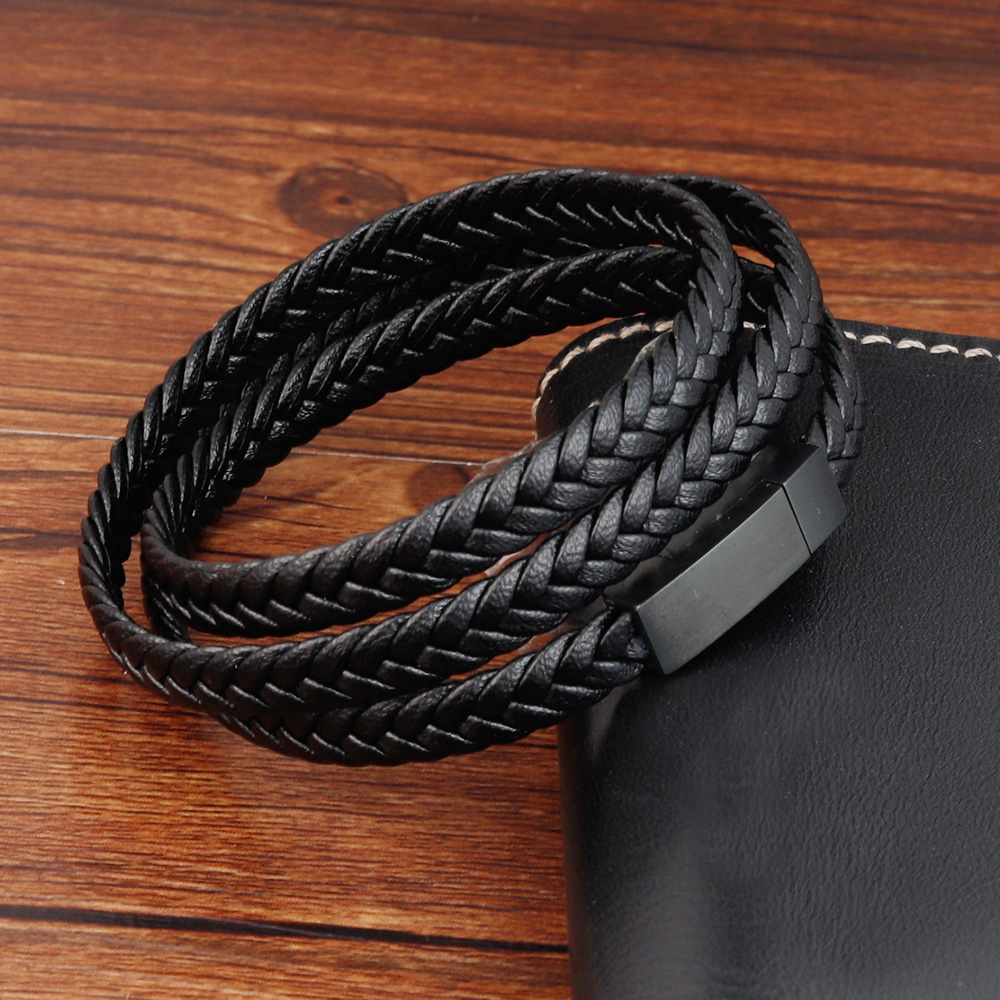 Genuine Leather Bracelets Brown Braid Woven Rope Chain Stainless Steel Magnetic Buckle Bangle for Men Jewelry Vintage Trendy