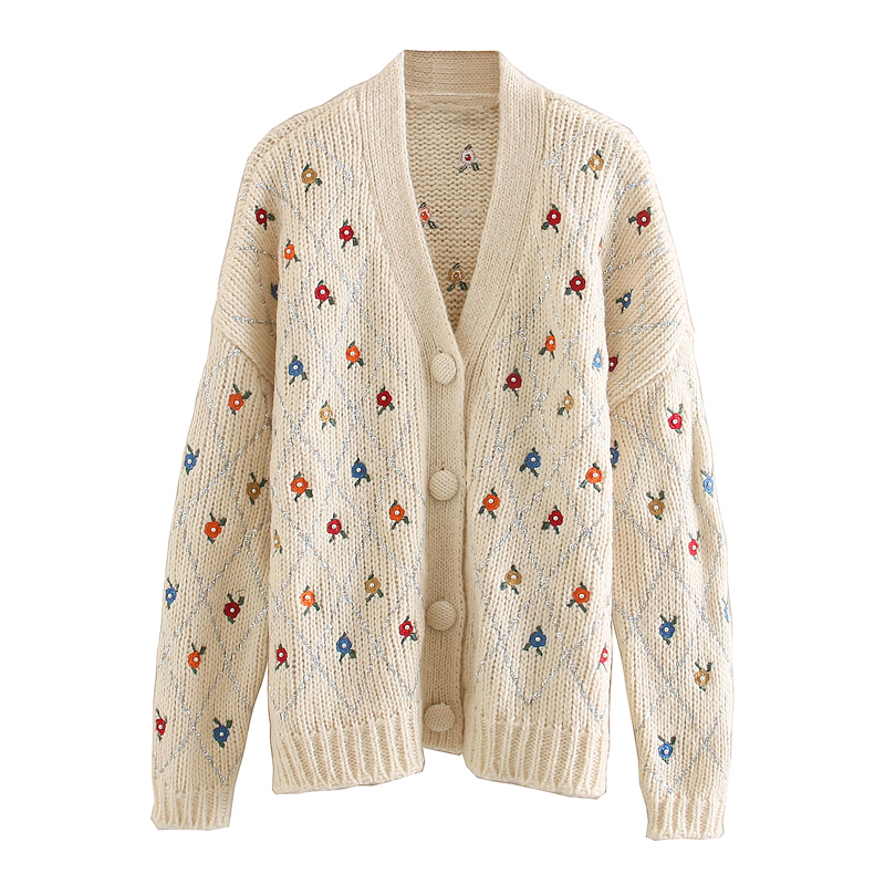 Sweet Chic Embroidery Cardigans Women Fashion Single Breasted V Neck Sweater Elegant Ladies Long Sleeve Jumpers