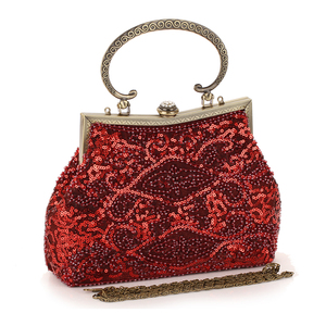 Image 1 - Red Glitter Evening Bags Women Hobos Luxury Party Small Handbags Female Soft Surface Clutches Wedding Banquet Purse Pouch
