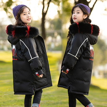 купить Brand Winter Thicken Warm White Duck Down Long Child Coat Real Fur Collar Girls Down Jackets Children Outerwear For 110-170cm дешево