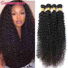 Feixes de cabelo encaracolado 28 30 40 Polegada kinky encaracolado feixes de cabelo humano brasileiro remy longo 1 3 4 pacotes cabelo tecer extensões tingíveis