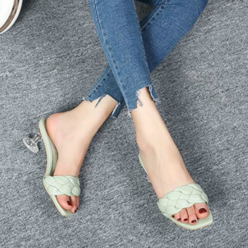 Transparent High Heel Women Sandals Weaving Fashion Style Noble Brand Design Woman Summer Shoes Hot Selling Party Ladies Sandal 4