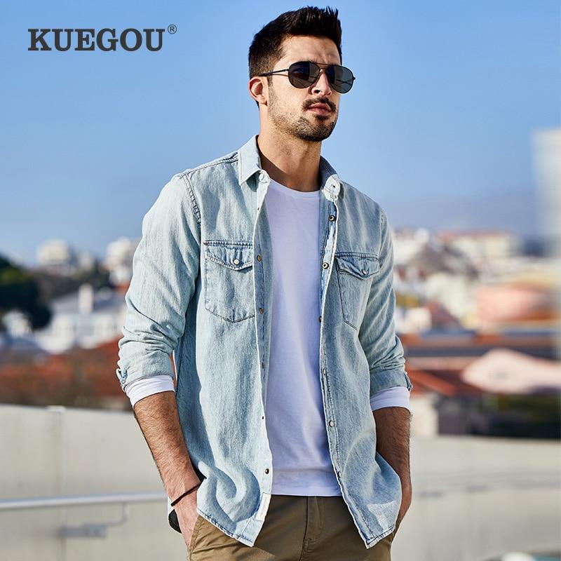 KUEGOU 100% Cotton Men's denim shirt 2020 spring South Korean style fashion casual shirt man's shirt men Top Plus size BC-6276