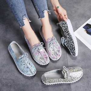 Image 5 - STQ Spring Women Flats Loafers Shoes Genuine Leather Flats Female Shoes Lace Up Loafers Casual Slip on Walking Shoes Woman 7760