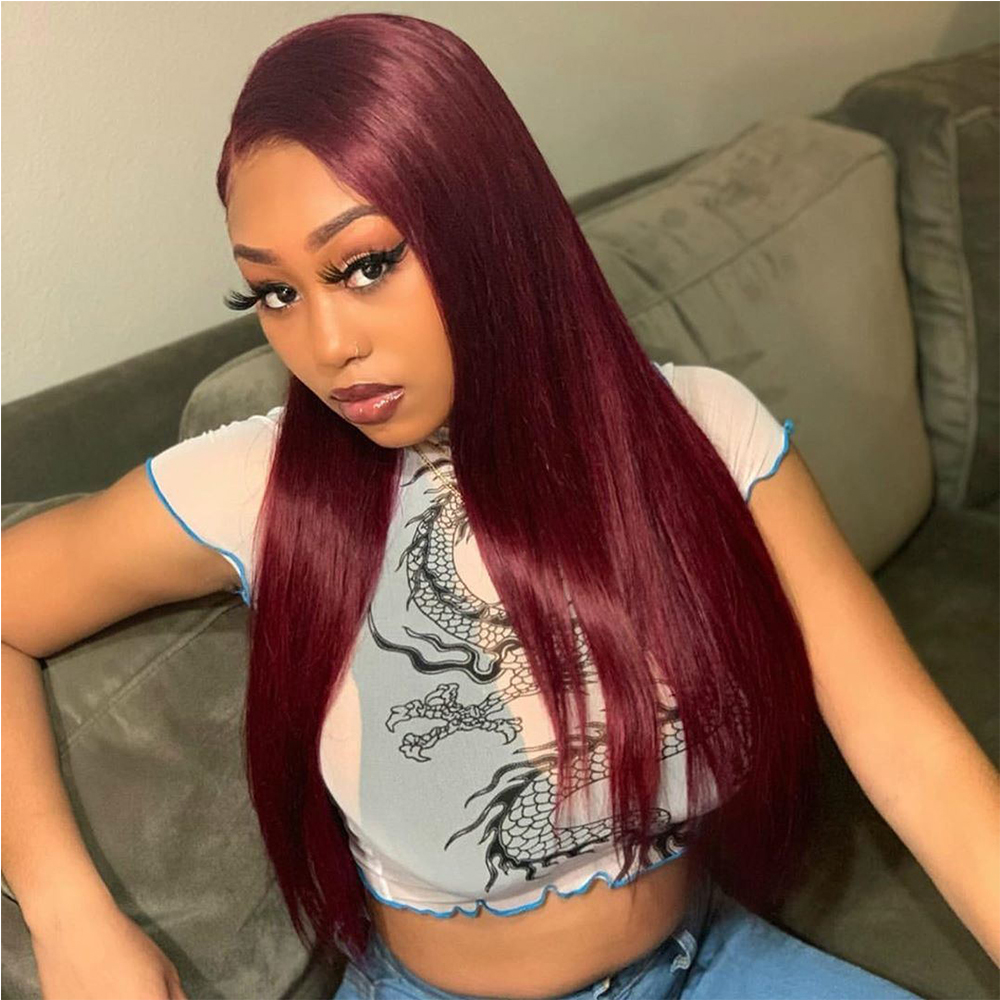 Burgundy Red 13x6 Lace Front Human Hair Wig With Baby Hair 180 Density Straight 99J Colored Pre Plucked Human Hair Wigs Nabeauty