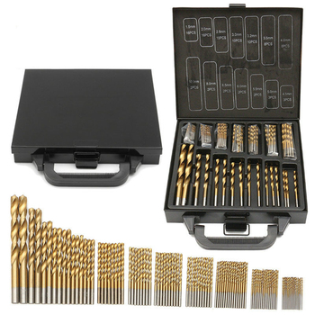 цена на Top Quality 99pcs 1.5-10mm Titanium Coated HSS Twist Drill Bits Set And Case Plastic Wood Metal Drilling Tool Kit Box