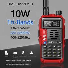Baofeng UV-S9 plus tri-band 136-174/220-225/400-520mhz 10w de alta potência usb carregamento rádio presunto 10km de longa distância cb walkie talkie