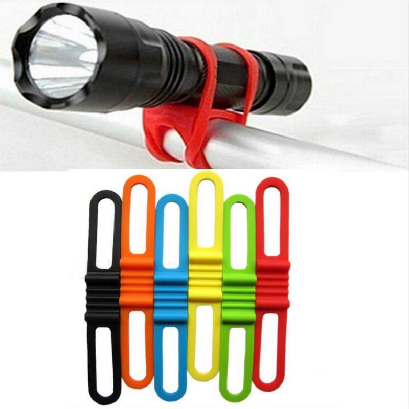 Elastic Silicone Strap Bandage Bike Accessories Bike Light Holder Mount Holders Flashlight Torch Fastening Band Bicycle Sticker