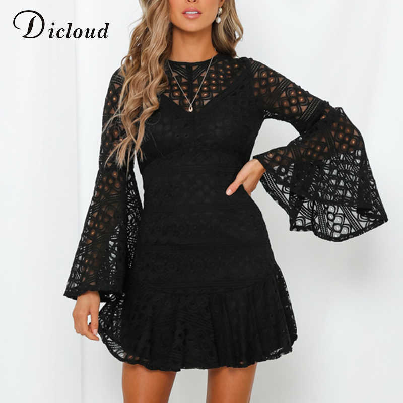 DICLOUD Sexy Hollow Out Lace Party Dresses Black Women Backless Flare Sleeve Mini Dress Ladies Elegant Spring Clothing 2020