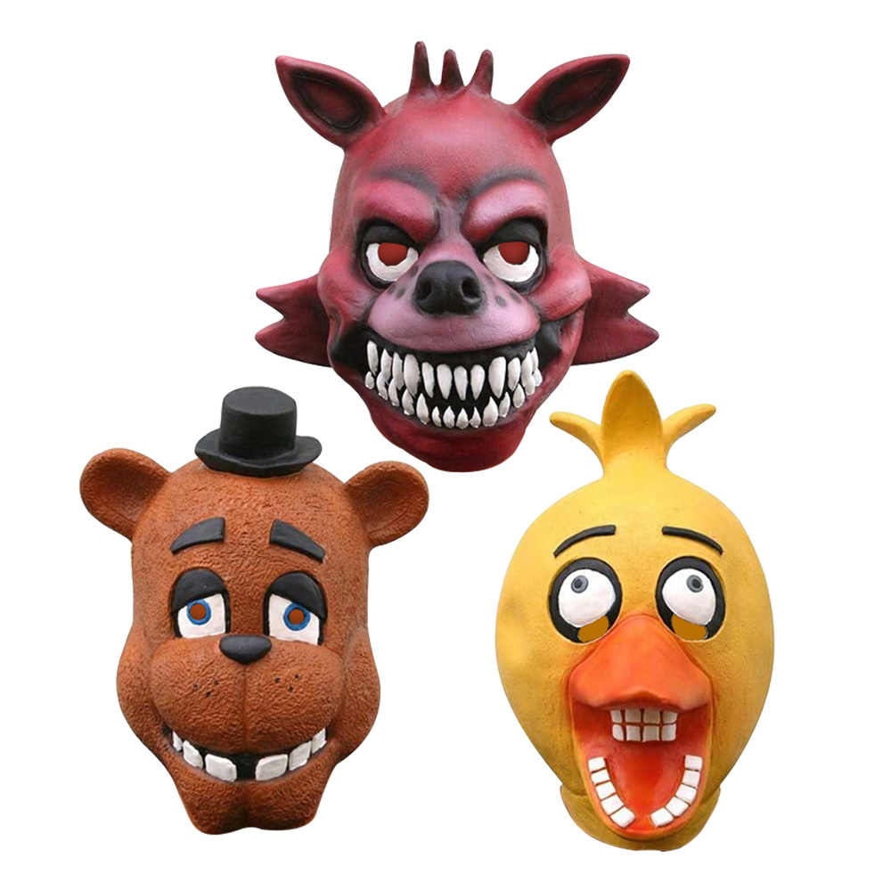 Cinq nuits chez Freddy's Freddy Fazebear Chica Foxy ours masque Latex complet déguisement FNAF jouets Halloween masque d'horreur brinqudo bebe