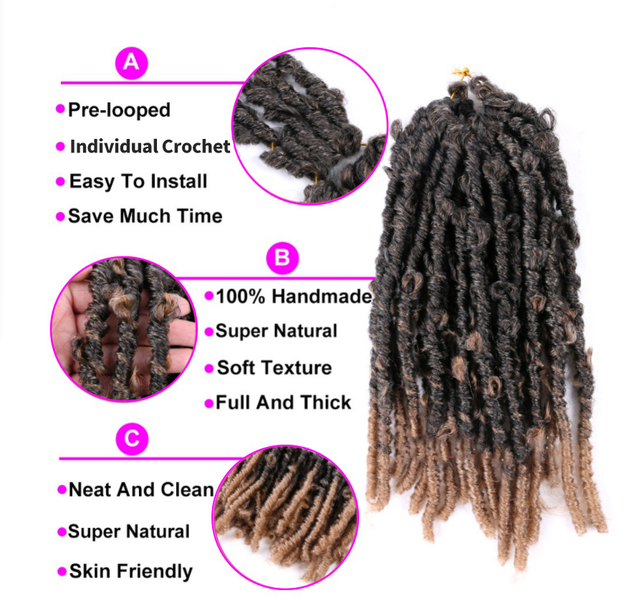 Butterfly Faux Locs Crochet Goddess Braids Synthetic Hair Extensions 20 Strands/pack 14inch Natural Black Braiding Hair BY195 2