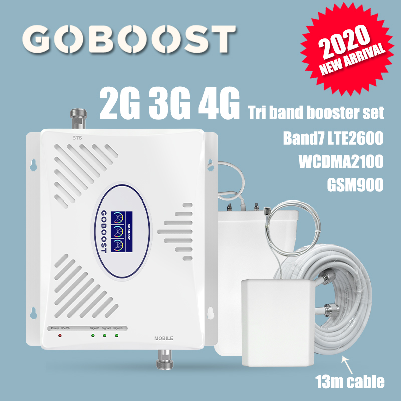 900 2100 2600 Tri Band 2G 3G 4G Cell Phone Repeater Set Cellular Signal Booster Amplifier Kits GSM900 WCDMA2100 LTE2600 GWL 70dB