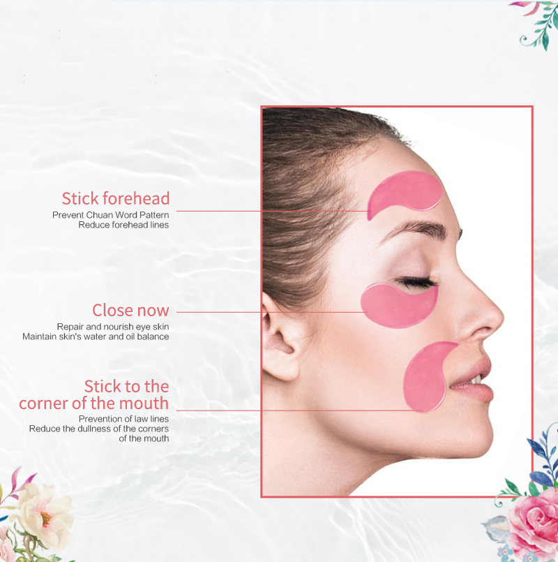 60pcs Rose Eye Mask Fades Fine Lines Eliminate Puffiness Patches Moisturize Eye Mask Remove Stye Crystal Collagen Gel Mask-3