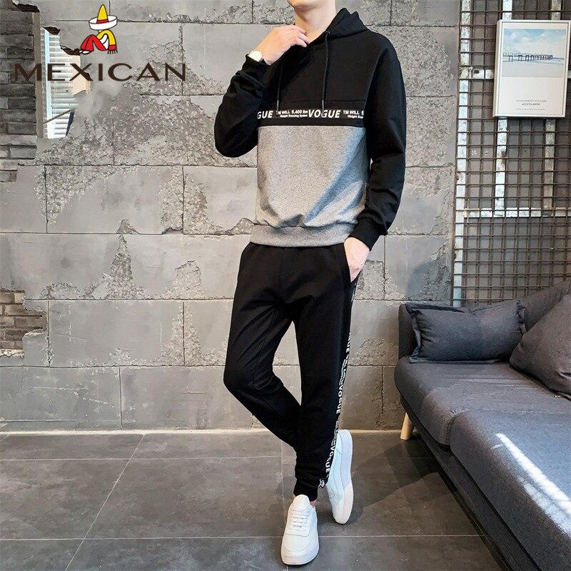 MEXICAN Men's Hooded Sweater Set Men's Slim Casual Hooded Warm Undershirt Sports Suit Long Sleeve T-shirt Men