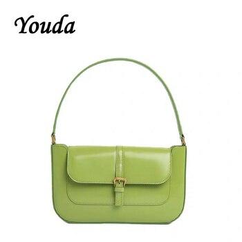 Youda Original nuevo mujeres bolsas de hombro clásico chica genial bolsos de Baguette de la PU diseño bolso de moda bolso bolsos para damas