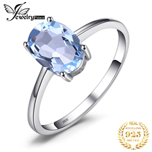 Trendy Genuine 1.5ct Natural Sky Blue Topaz Oval Rings Solid 925 Sterling Silver Prong Setting Rings Fine Jewelry For Women Gift hutang stone jewelry natural green turquoise blue topaz pendant solid 925 sterling silver necklace fine jewelry for women gift