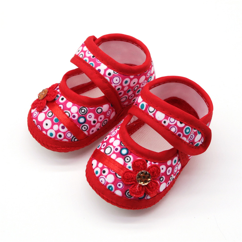 Spring Fall Toddler Shoes Infant Baby Girls Dot Flower Soft Sole Shoes Casual Flats Single Shoe First Walking Footwear 0-18M A20 | Happy Baby Mama