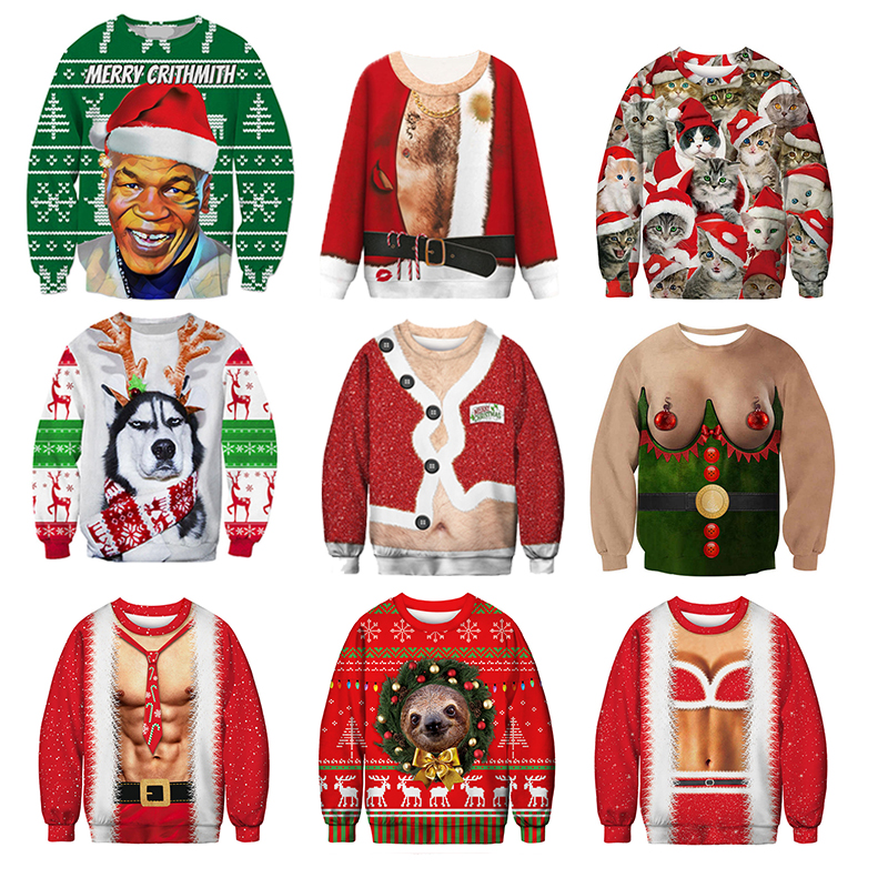 Ugly Christmas Sweater Santa Claus Print Loose Hoodie Men Women Pullover Christmas Novelty Autumn Winter Funny Men Clothes