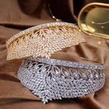 Европейская золотая корона с цирконием свадебная жемчугом большая