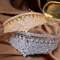 European Gold Crown Zircon Wedding With Pearl Princess Headband Crown Large Luxury Jewelry Queen Bridal Wedding Tiara Accessory