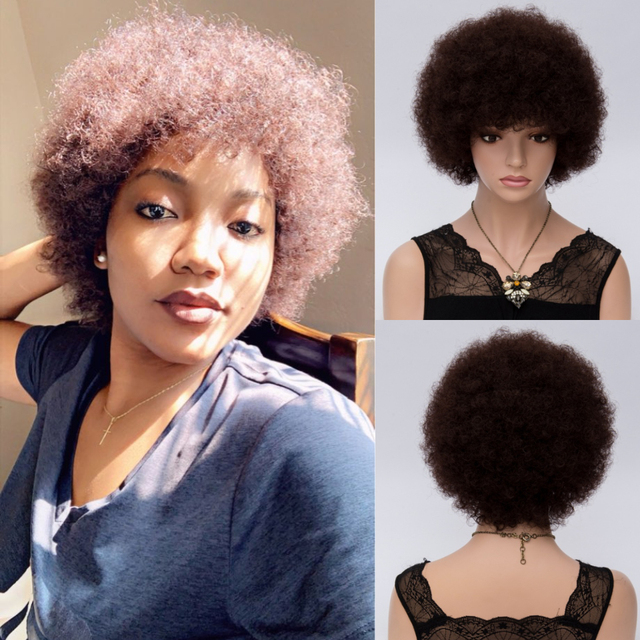 Msiwigs Vrouwen Korte Kinkly Krullend Afro Pruiken Donkerbruin Synthetisch Haar Pruik Amerika Afrikaanse Cosplay Pruiken