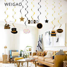 WEIGAO 30pcs Black Gold Hanging Swirls 2020 Happy New Year Party Decorations Wall Ceiling Spirals Years Eve Christmas Decor
