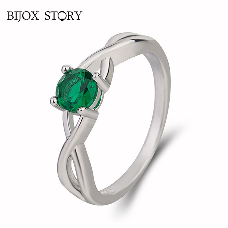 BIJOX STORY Classic 925 Sterling Silver Ring with Round Sapphire Emerald Fine Jewelry Ring for Women Wedding Anniversary Party