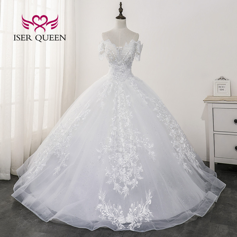 Quality Beautiful Embroidery Lace Wedding Dress 2020 New Dubai Fashion Style Wedding Gowns Beaded Princess Bride Dress WX0174