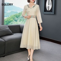 High Quality Runway Dress 2020 Spring Women V Neck Vintage Embroidery 3/4 Sleeve Mid Calf Apricot Blue Dress Plus Size XXL
