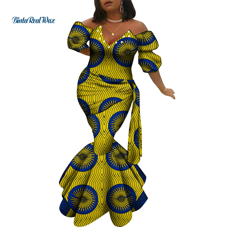 African Dresses For Women Print Long Dresses Vestidos Bazin Riche African Wedding Party Sexy Peals V Neck Ankara Dresses WY6639
