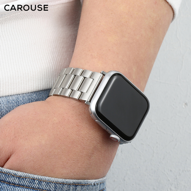 Carouse Stainless Steel Watchband For Apple Watch Band Series SE/6/5/4/3/2/1 38mm 42mm Metal Sport Strap For iWatch 40mm 44mm 3