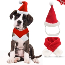 Cute Christmas Dog Hat Scarf Set Comfortable Santa Claus Cap Winter Warm Pet Costume Outfit Party Event Accessories