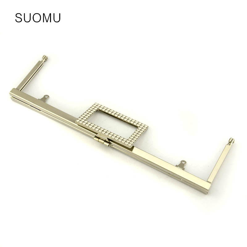 Metal Purse Frame Women Handle Clutch Bag Cosmetic Bag Accessories DIY HandBag Frame Diamond Clasp Lock Hardware Wholesale