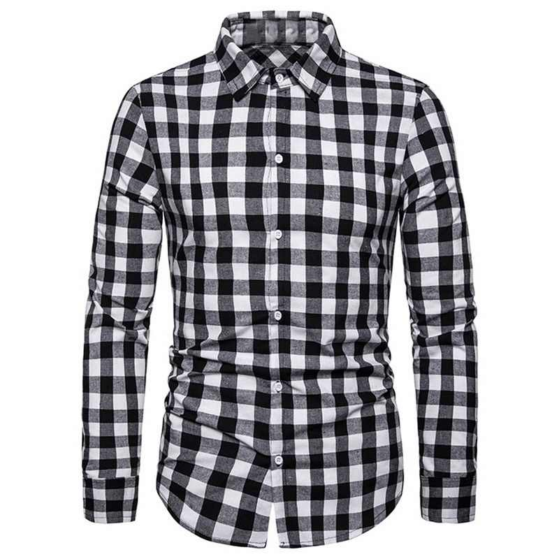 Adisputent Mens 2019 Blouse Business dagelijks mannen plaid shirt Business Leisure Lange Mouwen Rooster Afdrukken Fashion Shirt Top