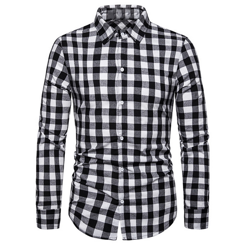 Adisputent Mens 2019 Blouse Business Daily Men's Plaid Shirt Business Leisure Long-Sleeved Lattice Printing Fashion  Shirt Top