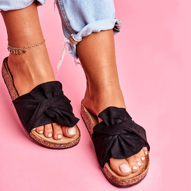 Women Sandals Candy Color Flat Sandals Summer Shoes Woman Bow-knot Slippers Slip On Sandals Chaussure Femme Summer Footwear