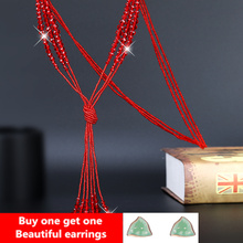 High-grade crystal tassels contracted joker winter and summer general fashionable woman long sweater necklace jewelry
