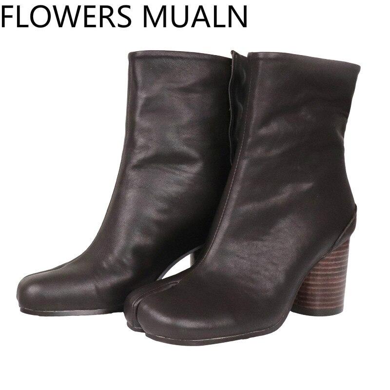 F M; пикантные ботильоны с раздельным носком; женские натуральные кожаные военные ботинки; Цвет черный, коричневый; короткие мотоботы для женщин; Размеры 35 42