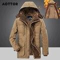 Мужские зимние парки с капюшоном меховая подкладка утепленная куртка мужская повседневная верхняя одежда со съемным капюшоном; Пальто чел...