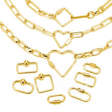 4pcs Stainless Steel Heart Screw Locking Clasp Gold Oval Square Carabiner Clasps for Necklace Bracelet Keychain Making