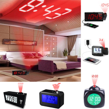 USB Digital Projection Alarm Clock Weather Station Temperature Desk Time Date Display Projector Calendar Wake Up Table Led Clock digital lcd thermometer projection weather station temperature calendar display dual alarm clock usb charging function